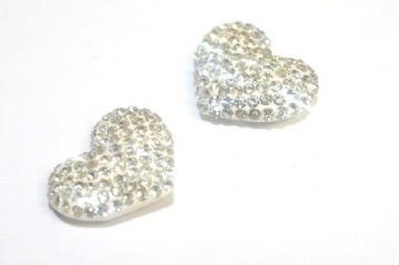 1pce x 19mm*15mmpave pave crystal - Shamballa Hearts - half drilled
